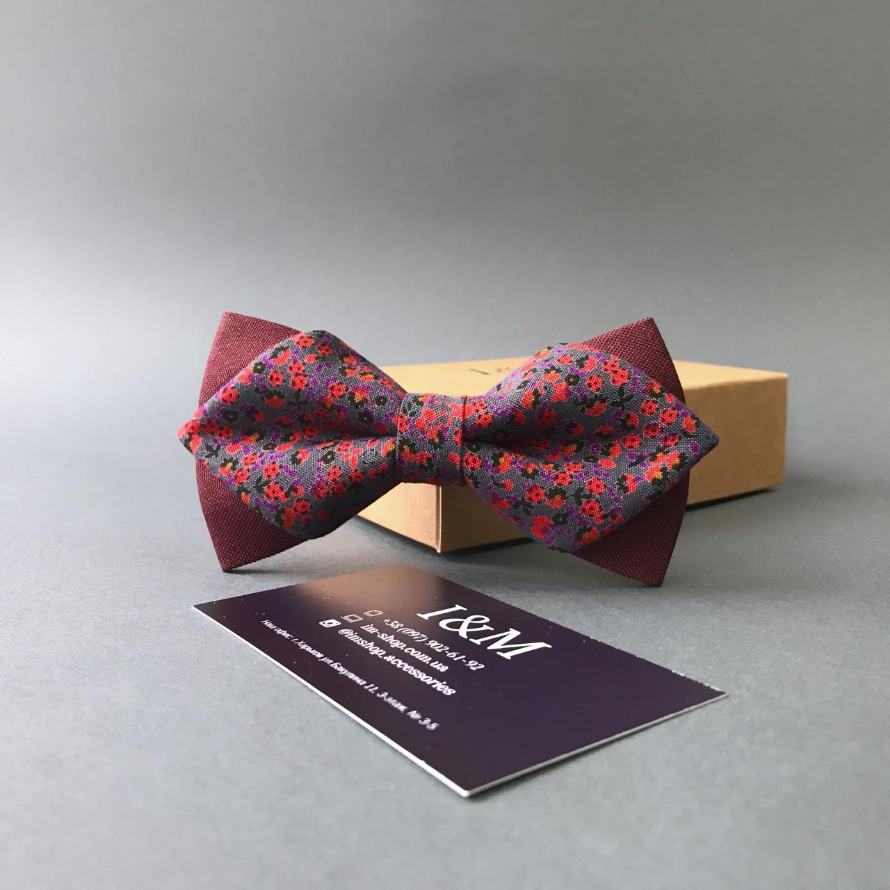 Краватка-метелик I&M Craft з гострими кінцями бордовий з квіточками (100139N)