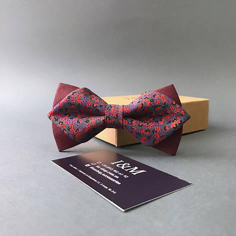 Краватка-метелик I&M Craft з гострими кінцями бордовий з квіточками (100139N), фото 2