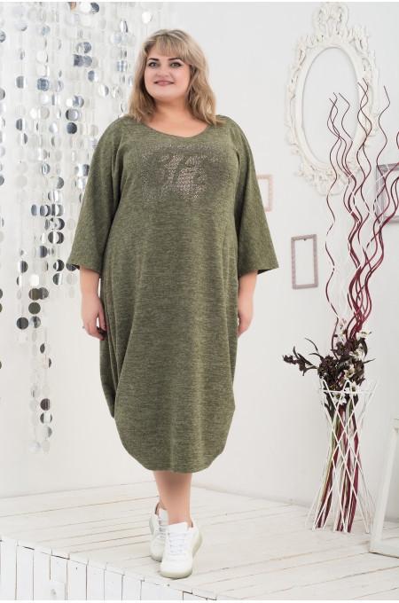 Стильное платье размера плюс Модница хаки(58-68)