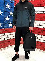 Комплект Ветровка мужская The North Face + спортивные штаны, весенняя/осенняя, цвет черно-серый + Барсетка