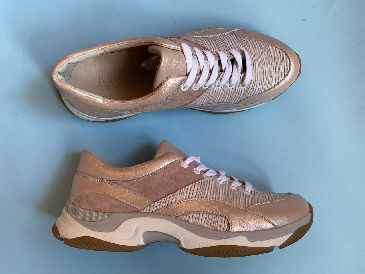 Кроссовки 508-20 пудра перл + пудра замш + пудра полоса (крос 3 беж след)