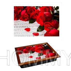 Поднос с подушкой Красные розы