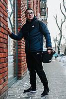 Комплект Ветровка мужская The North Face + спортивные штаны, весенняя/осенняя, цвет черно-болотный + Барсетка