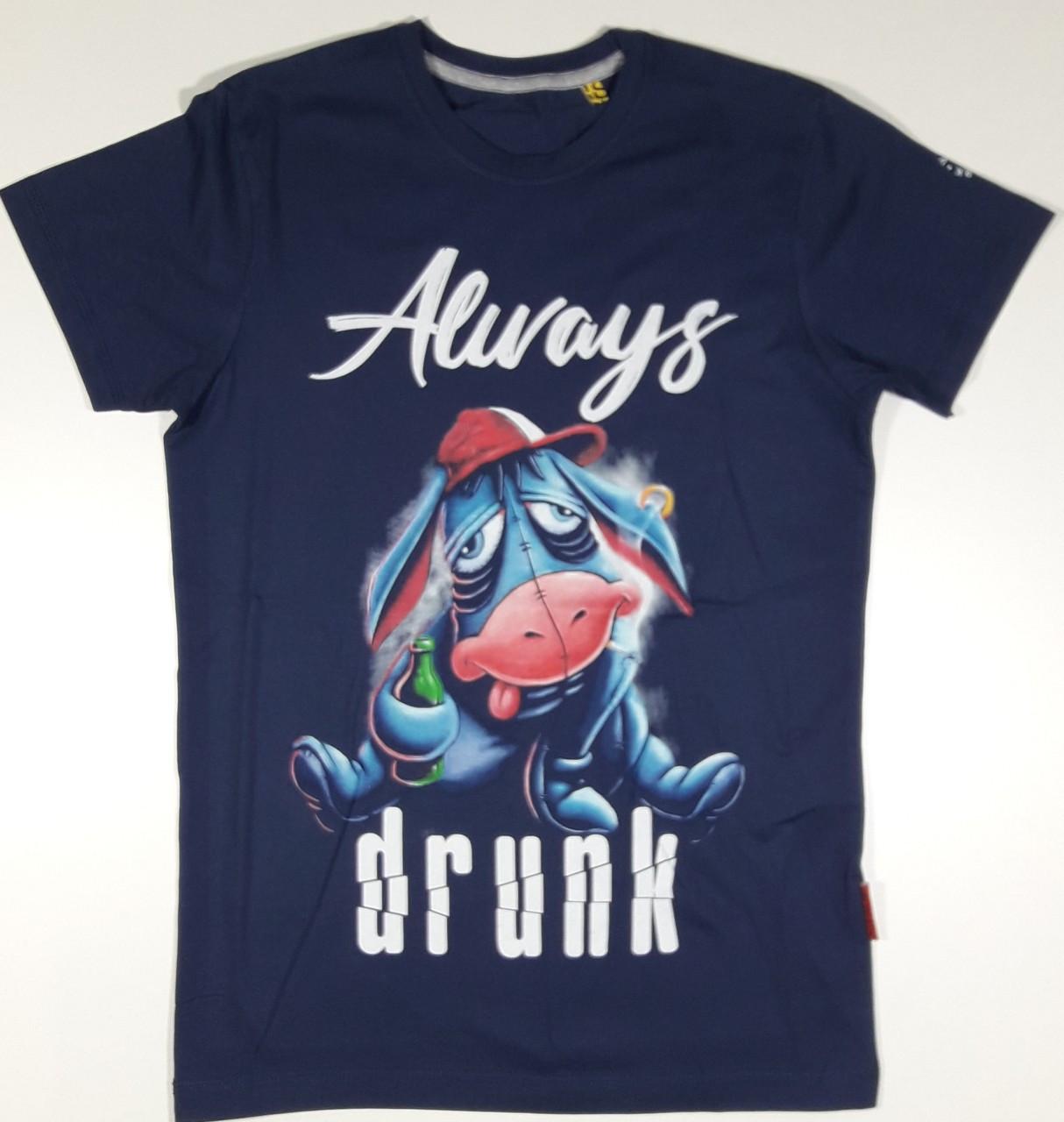 """Молодежная футболка Валимарк, темно-синий,  """"Always drunk 19022"""""""