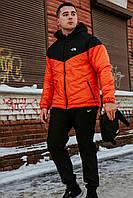 Комплект Ветровка мужская The North Face + спортивные штаны, весенняя/осенняя, цвет черно-оранжевый + Барсетка