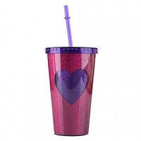 Стакан с крышкой и трубочкой Purple heart, Стаканы, Стакан з кришкою і трубочкою Purple heart
