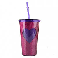 Стакан с крышкой и трубочкой Purple heart, Стакан з кришкою і трубочкою Purple heart