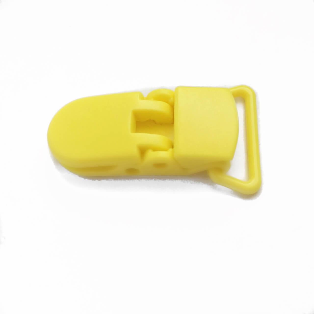 Клипса пластиковая для пустышки, желтая