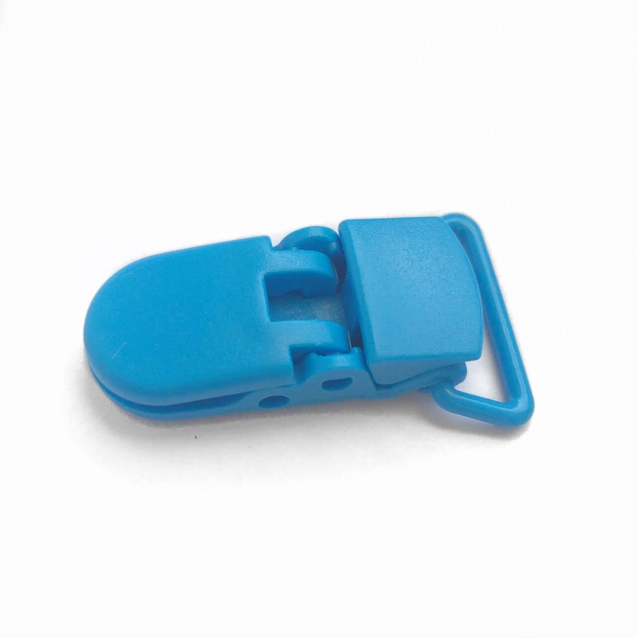 Клипса пластиковая для пустышки, голубая