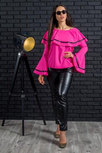 Модная женская блуза с воланами (4 цвета)