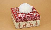 Подарочная коробка С помпоном красная 14х14х7 см, Силіконова кришка невикіпайка 25.5 см, Подарочные коробки