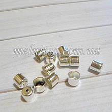 Концевик-колпачек   для шнура, 6 мм,  серебро, 2 шт.