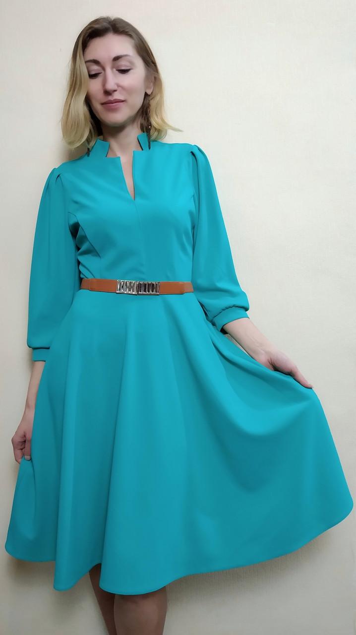 f11267d2290 Мятное офисное платье с рукавом три четверти П230 - 2 Льва ® в Киеве