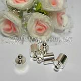 Концевик-колпачок  для шнуров и бисерных жгутов,  внутренний размер 5 мм, металл, цвет никель, 1 пара, фото 2