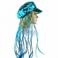 Кепка женская с косичками (голубая), Кепка жіноча з косичками (блакитна), Парики