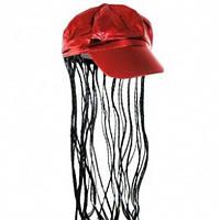 Кепка женская с косичками (красная), Парики, Кепка жіноча з косичками (червона)