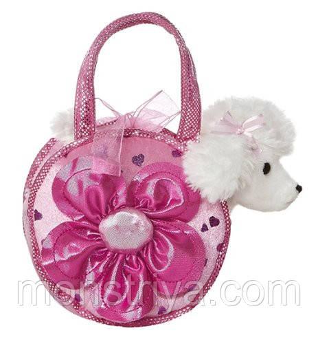 Белый пудель в сумочке со светящимся цветочком от Аврора