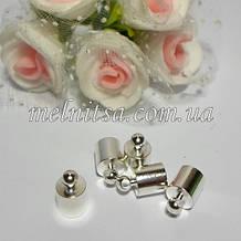Концевик-колпачок  для шнуров и бисерных жгутов,  внутренний размер 5 мм, металл, цвет никель, 1 пара