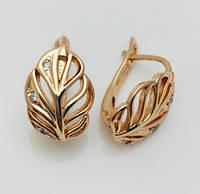 Женские серьги, сережки  Fallon Мерси классика листья позолота 18К