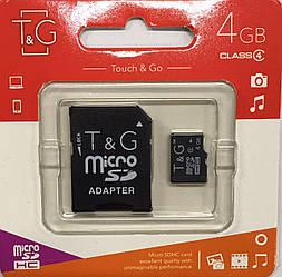 Карта памяти micro SDHC, 4Gb, Class4, T&G, SD адаптер (TG-4GBSDCL4-01)