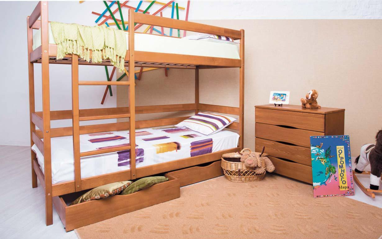 Двухъярусная деревянная кровать АМЕЛИ с выдвижными ящиками ТМ Олимп