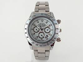 Механика Rolex Daytona Black ролекс механические часы мужские серебро с белым циферблатом