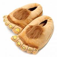 Тапочки ноги первобытного человека brown, Тапочки ноги первісної людини brown, Прикольные тапки