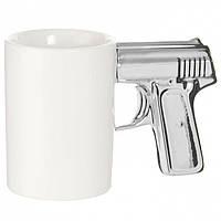 Чашка Пистолет белая с серебряной ручкой, Чашка Пістолет біла з срібною ручкою, Оригинальные чашки и кружки