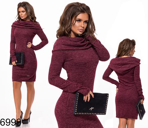 Облегающее платье с капюшоном (бордовый) 826999