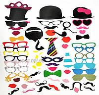 Фотобутафория для фотосессии: маски, усы, очки на палочках (f-58)