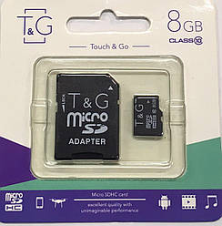 Карта памяти micro SDHC, 8Gb, Class 10, T&G, SD адаптер (TG-8GBSDCL10-01)