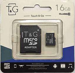 Карта памяти micro SDHC, 16Gb, Class 10, T&G, SD адаптер (TG-16GBSDCL10-01)