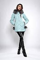 Зимняя женская молодежная куртка. Код модели К-126-36-19. Цвет мята.