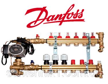 Смесительный узел, коллектор для теплого пола Danfoss на 7 выхода, фото 2