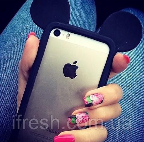 Бампер Ушки Микки для iPhone 5/5s, чёрный