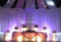 Оформление цветами, драпировка тканями, украшение зала, свадебное оформление ресторана