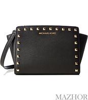 79f98e936924 Женская сумка Michael Kors Selma Stud Leather Medium Messenger Bag Black  30T3GSMM2L-001