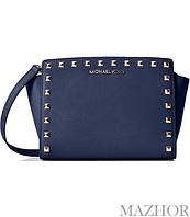 5ac90029b066 Женская сумка Michael Kors Selma Stud Leather Medium Messenger Bag Navy  30T3GSMM2L-406