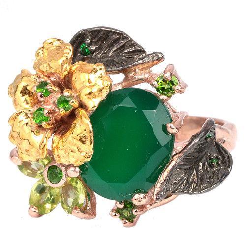 Серебряное кольцо с натуральными Хромдиопсидами Перидотами и Авантюрином