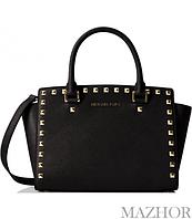 9cccedab428e Женская сумка Michael Kors Selma Studded Saffiano Leather Satchel Black  30T3GSMS2L-001