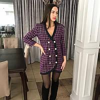 Твидовое платье-пиджак фиолетовое