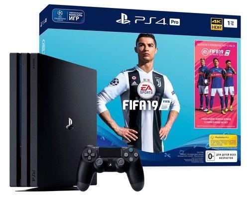 Игровая приставка PS 4 PRO Sony PlayStation 4 Pro 1TB + FIFA 19