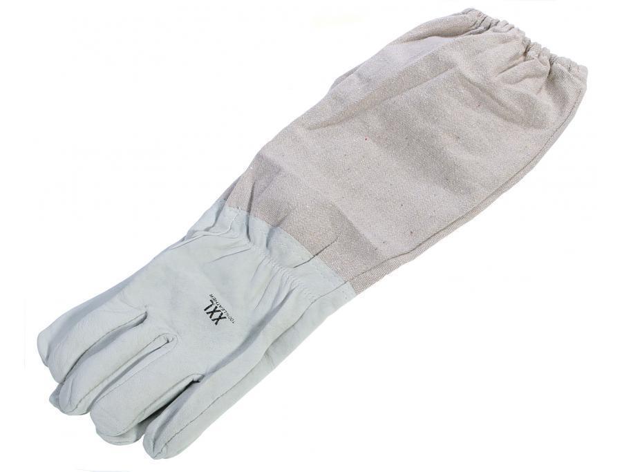 Перчатки кожаные беж с нарукавниками р. XL