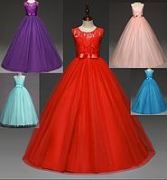 Платье красное бальное выпускное длинное в пол нарядное для девочки в садик или школу