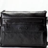 Мужская сумка на плече в стиле FENDI кожаная черного цвета
