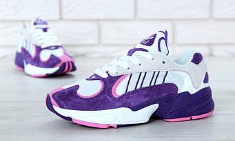 """Женские кроссовки Adidas Yung-1 """"White/Violet"""" (люкс копия)"""