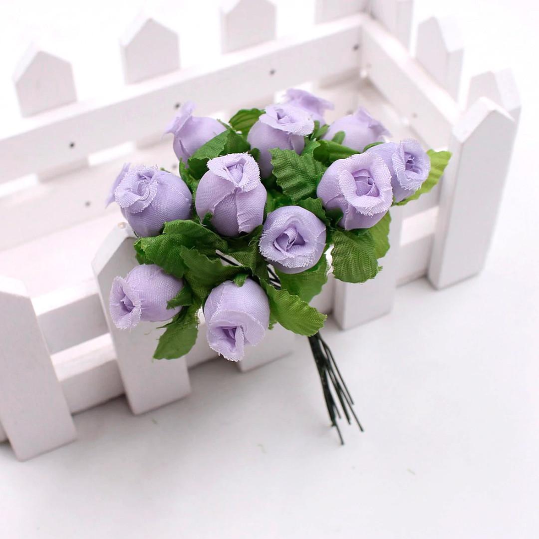 """Цветок """"Бутон розы"""" (цена за букет из 12 шт). Цвет - светло сиреневый"""