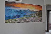"""Настенная художественная роспись """"Восход солнца в горах"""""""