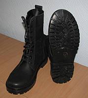 Ботинки-берцы кожаные прошитые на легкой подошве, фото 1