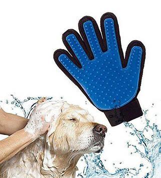 Перчатка, щетка, массажер для вычесывания шерсти собак и кошек True Touch,Тру Тач